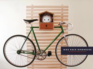 Photo of a bike racked up in the Bike Rack Birdhouse